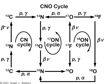 stellar nucleosynthesis carbon cycle The triple-alpha process is a set of nuclear fusion reactions by which three helium-4 nuclei are transformed into carbon older stars start to older stars start to accumulate helium produced by the proton–proton chain reaction and the carbon–nitrogen–oxygen cycle in their cores the products of further.
